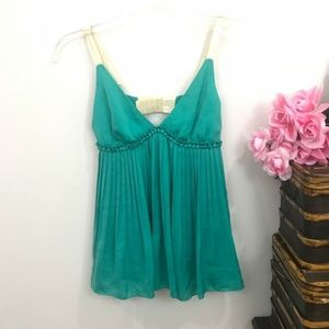 {Elizabeth and James} Green Silk Pleated Top